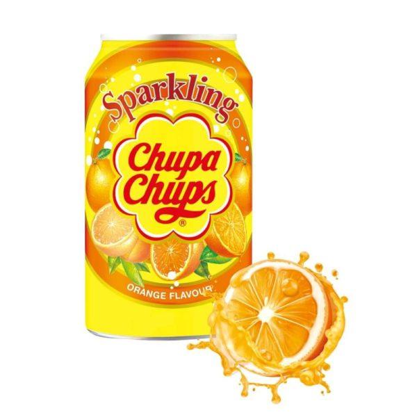 Chupa Chups Sparkling Orange Flavour Soft Drink Cans 345ml